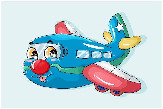 Ilustracja niebieski czerwony samolot pomarańczowy eyed kreskówki transportu