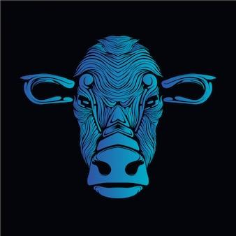Ilustracja niebieski głowa krowy