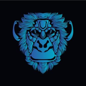 Ilustracja niebieski głowa małpy