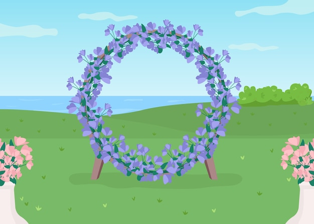 Ilustracja niebieski kwiatowy łuk płaski kolor