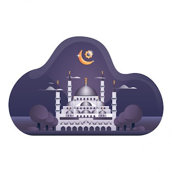 Ilustracja niebieski meczet