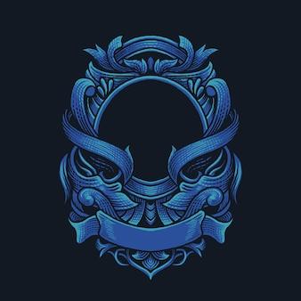 Ilustracja niebieski ornament wektor sztuki