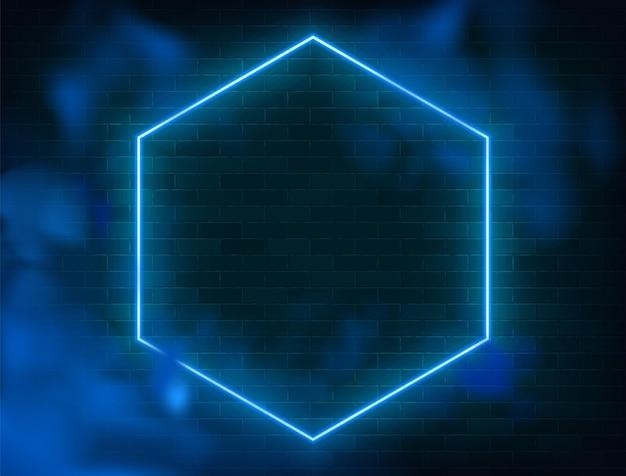 Ilustracja niebieski rozjaśniony kształt sześciokąta z dymem na ścianie grunge.