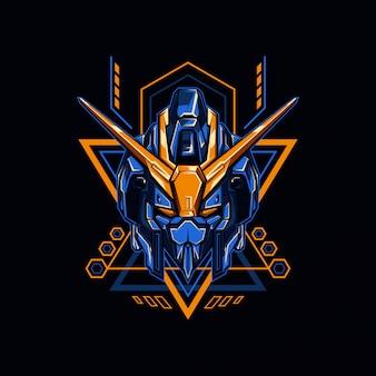 Ilustracja niebieski rycerz robota