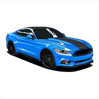Ilustracja niebieski samochód mięśni