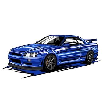 Ilustracja niebieski samochód sportowy