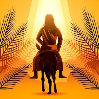 Ilustracja niedziela palmowa gradientu