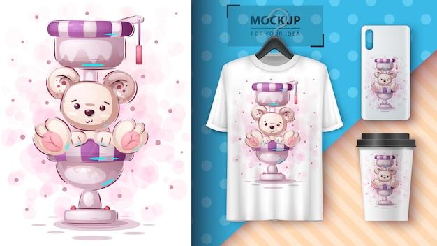 Ilustracja niedźwiedzia polarnego w toalecie i merchandising