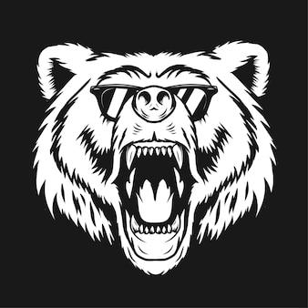 Ilustracja niedźwiedzia z monochromatycznymi okularami w stylu vintage na białym tle w ciemnym tle