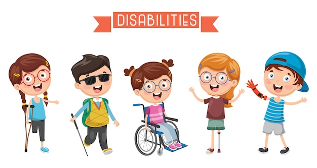 Ilustracja niepełnosprawnego dzieciaka