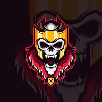 Ilustracja nieumarłego króla wikingów maskotka krzycząca czaszka
