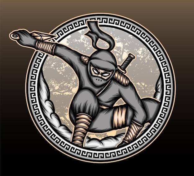 Ilustracja ninja shinobi.