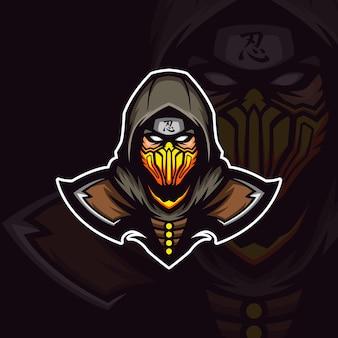 Ilustracja ninja zabójców na żółtej masce maskotki