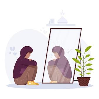 Ilustracja niskiego poczucia własnej wartości z kobietą i lustrem