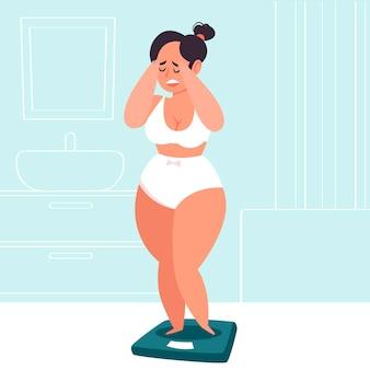 Ilustracja niskiego poczucia własnej wartości z kobietą i skalą