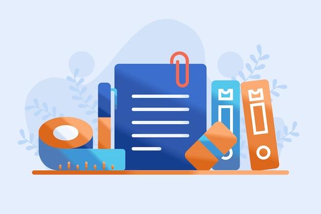 Ilustracja notatnik i sprzęt