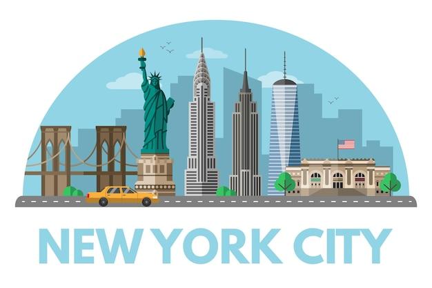 Ilustracja nowego jorku nowoczesna metropolia stanów zjednoczonych