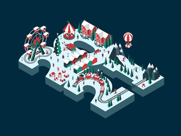 Ilustracja nowego roku 2021. szczęśliwi ludzie bawią się i świętują ferie zimowe.