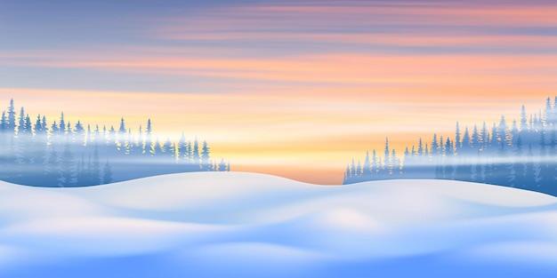 Ilustracja nowego roku, zimowy wieczór