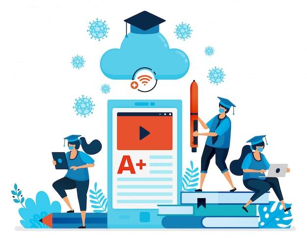 Ilustracja nowej normalnej edukacji i nauki dzięki aplikacjom mobilnym i e-klasie. projekt może być wykorzystany do strony docelowej, strony internetowej, aplikacji mobilnej, plakatu, ulotek, banera