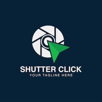 Ilustracja nowoczesna fotografia aparatu z kliknięciem strzałki logo ikona wektor szablon