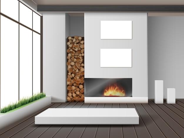 Ilustracja nowoczesnego białego salonu z kominkiem w stylu eko-minimalistycznym