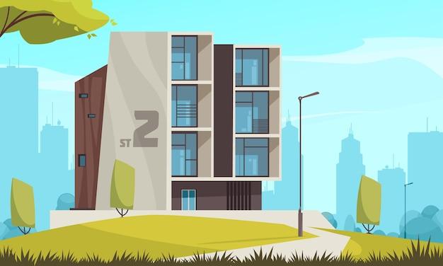 Ilustracja nowoczesnego budynku miejskiego