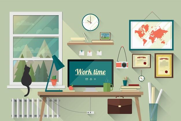 Ilustracja nowoczesnego miejsca pracy w pokoju. twórczy obszar roboczy biura z mapą. płaski, minimalistyczny styl. płaska konstrukcja z długimi cieniami.