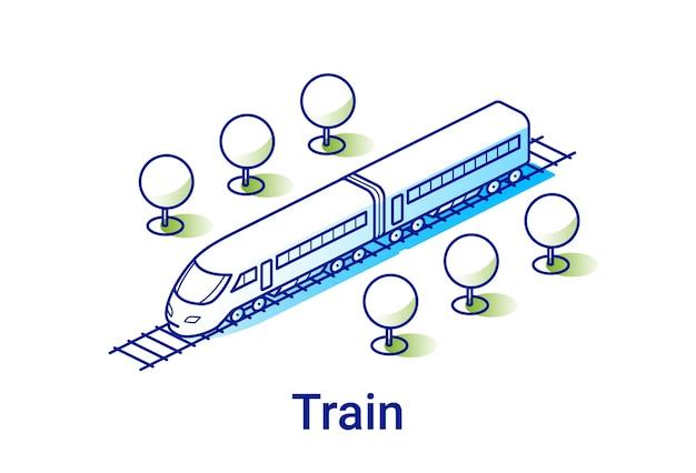 Ilustracja nowoczesnego pociągu elektrycznego w liniowym stylu izometrycznym. minimalna linia grafiki.