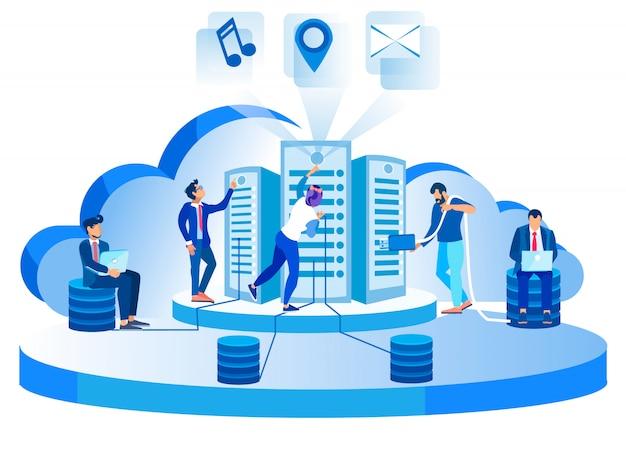 Ilustracja nowoczesnego sieciowego centrum danych hosting serwerów