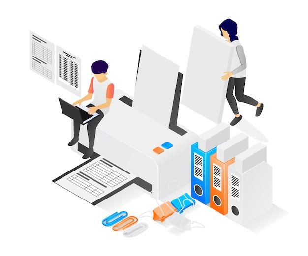 Ilustracja nowoczesnego stylu izometrycznego o pracowniku drukarskim