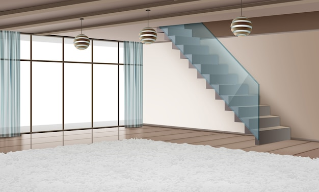 Ilustracja nowoczesnego wnętrza ze schodami i materiałami ekologicznymi w stylu minimalistycznym