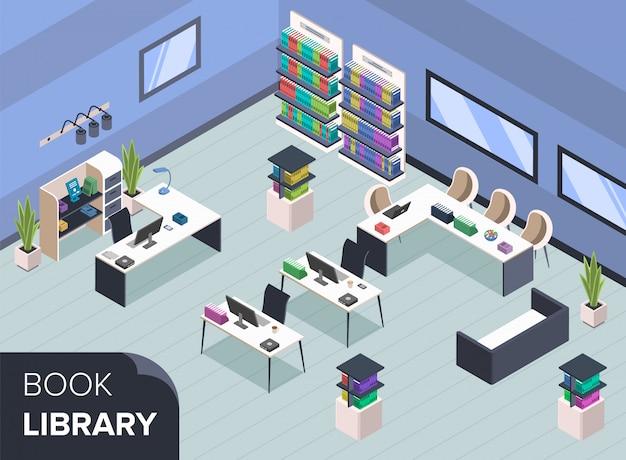 Ilustracja nowoczesnej biblioteki książek