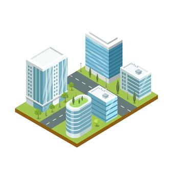 Ilustracja nowoczesnej dzielnicy biznesowej