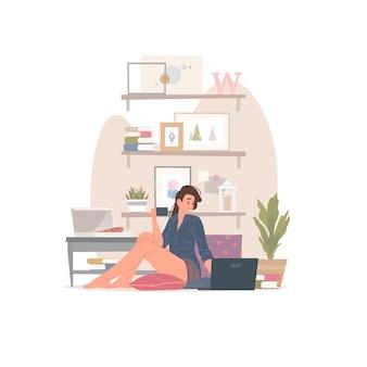 Ilustracja nowoczesnej kobiety z kubkiem gorącego napoju, siedząc na podłodze