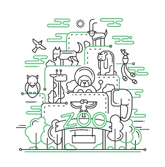 Ilustracja nowoczesnej linii kompozycji zoo i elementów infografiki z dzikimi zwierzętami