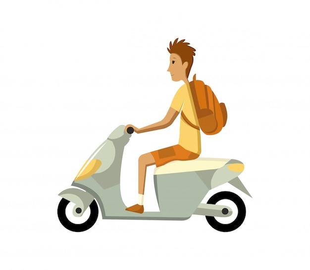 Ilustracja nowoczesny kreatywny projekt płaski przedstawiający młodego człowieka dojeżdżającego na skuterze retro. mężczyzna jedzie klasycznego patrzeje motorower, widok z boku