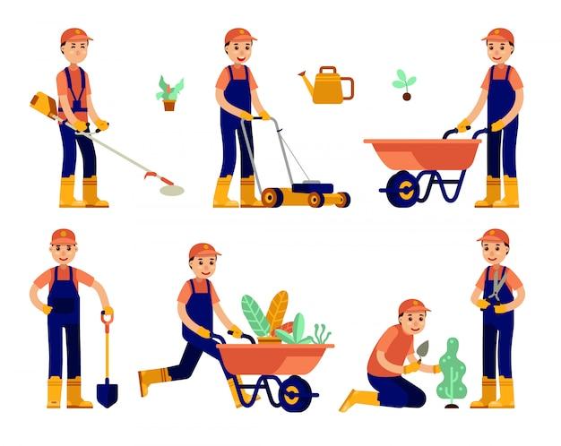 Ilustracja nowoczesny ogrodnik mężczyzna