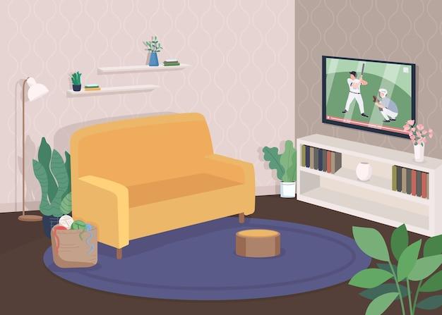 Ilustracja nowoczesny salon płaski kolor. oglądaj telewizję z sofy. wygodna kanapa przy tv. czas na rekreację. współczesny dom wnętrze kreskówka 2d z meblami na tle