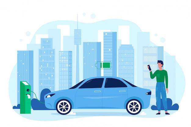 Ilustracja nowoczesny samochód elektryczny eco auto. kreskówka płaski szczęśliwy człowiek kierowca postać stojąca w stacji ładowania, ładowanie akumulatora samochodowego pojazdu, oszczędzanie technologii ekologii na białym tle
