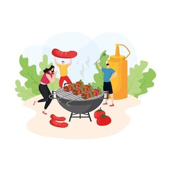 Ilustracja nowoczesny z ludźmi z grilla