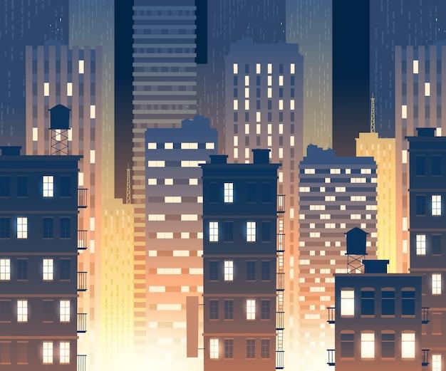 Ilustracja nowoczesnych budynków w nocy. tło z miejskich dużych budynków
