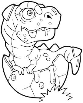 Ilustracja noworodka tyranozaura do kolorowania