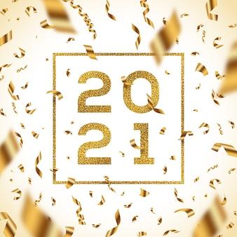 Ilustracja nowy rok. brokatowe złote cyfry roku z ramką i złotym konfetti z folii.