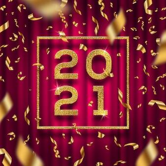 Ilustracja nowy rok. złote cyfry roku i konfetti na tle czerwonej kurtyny.