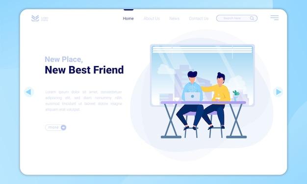 Ilustracja nowych przyjaciół w nowym miejscu na stronie docelowej