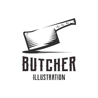 Ilustracja nóż rzeźniczy w stylu retro vintage
