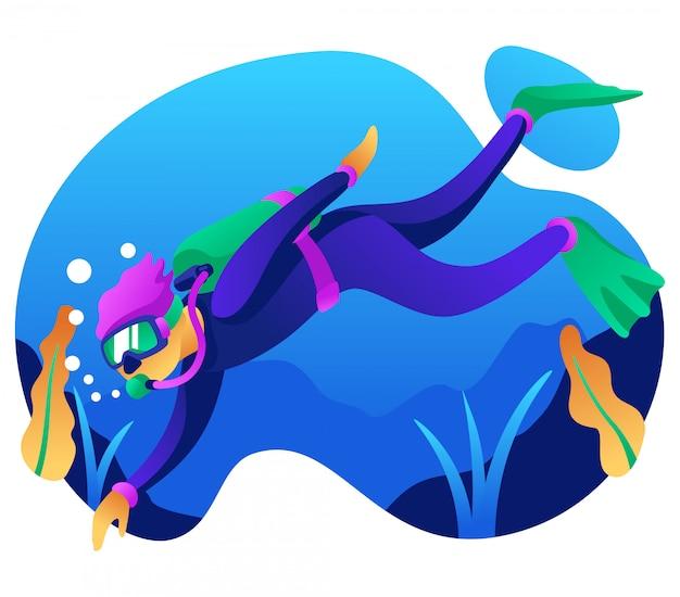 Ilustracja nurkowania z akwalungiem