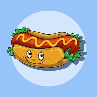 Ilustracja o charakterze hotdog z uśmiechniętą twarzą