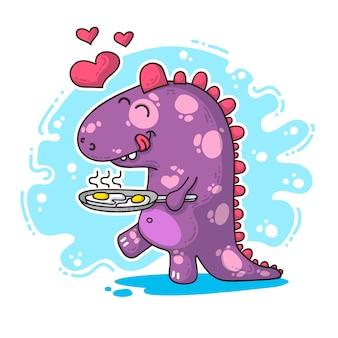 Ilustracja o dinozaurie w miłości
